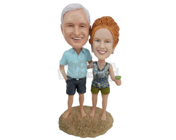 Custom Bobblehead Happy Couple Toasting At The Beach Shore - Wedding & Couples Couple Personalized Bobblehead & Cake Topper