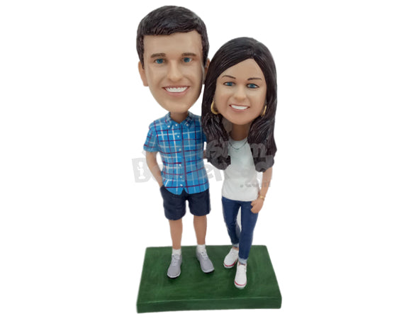 Custom Bobblehead Classy Couple Wearing Casual Outfit - Wedding & Couples Couple Personalized Bobblehead & Cake Topper