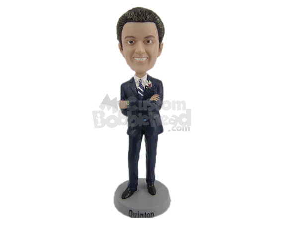 Custom Bobblehead Best Man Wearing Formal Outfit Ready For The Ceremony - Wedding & Couples Groomsman & Best Men Personalized Bobblehead & Cake Topper