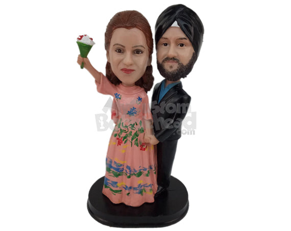 Custom Bobblehead Indian Wedding Couple In Classic Punjabi Wedding Outfit With A Bouquet - Wedding & Couples Bride & Groom Personalized Bobblehead & Cake Topper