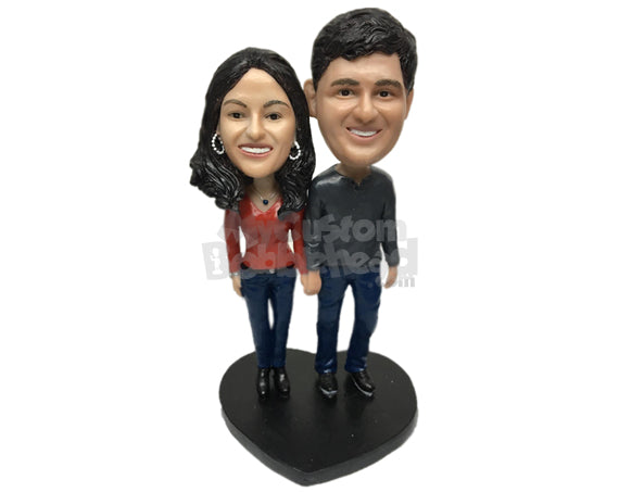 Custom Bobblehead Classy Couple Wearing Trendy Casual Attire - Wedding & Couples Groomsman & Best Men Personalized Bobblehead & Cake Topper