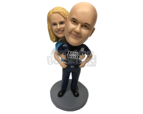 Custom Bobblehead Super Policeman And Happy Bride Posing For A Picture - Wedding & Couples Couple Personalized Bobblehead & Cake Topper