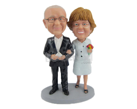 Custom Bobblehead Fashionable Wedding Couple Wearing Formal Bridal Attire - Wedding & Couples Bride & Groom Personalized Bobblehead & Cake Topper