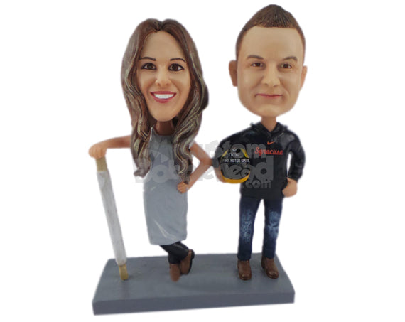 Custom Bobblehead Female Chef Posing With Car Racing Lover Boy - Wedding & Couples Couple Personalized Bobblehead & Cake Topper