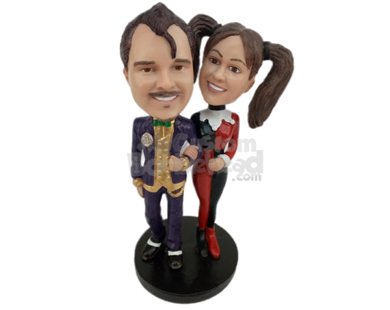 Custom Bobblehead Life Loving Couple Heading To A Costume Party - Wedding & Couples Couple Personalized Bobblehead & Cake Topper