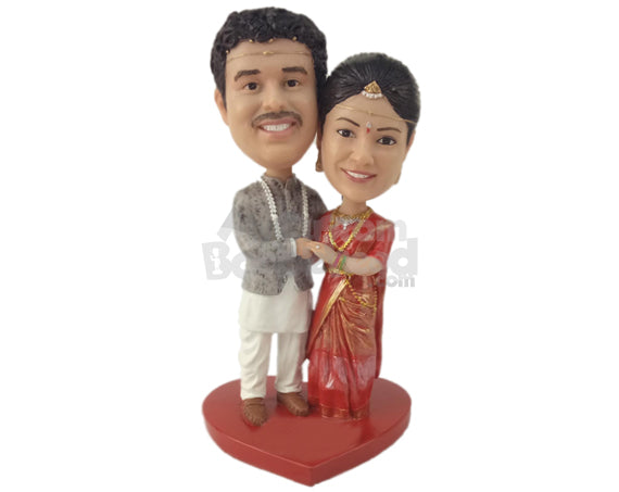 Custom Bobblehead Bride & Groom Wearing Indian Wedding Outfits - Wedding & Couples Bride & Groom Personalized Bobblehead & Cake Topper