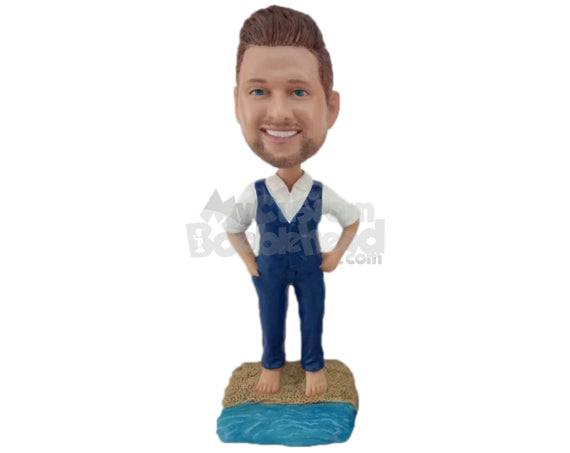 Custom Bobblehead Destination Wedding Groomsman Standing On The Beach Sand - Wedding & Couples Groomsman & Best Men Personalized Bobblehead & Cake Topper