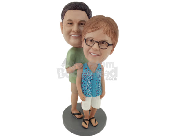Custom Bobblehead Couple Posing For A Photo Wearing Casual Outfit - Wedding & Couples Couple Personalized Bobblehead & Cake Topper