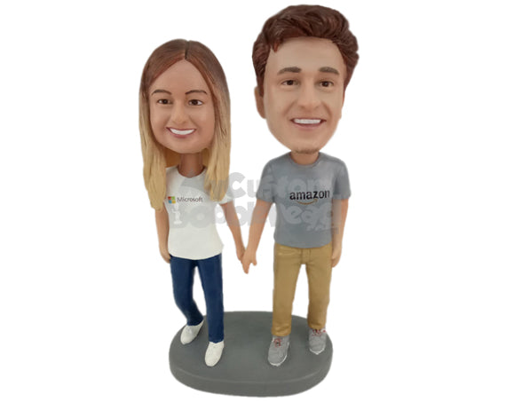 Custom Bobblehead Lovely Couple Holding Hands Wearing Casual Outfit - Wedding & Couples Couple Personalized Bobblehead & Cake Topper
