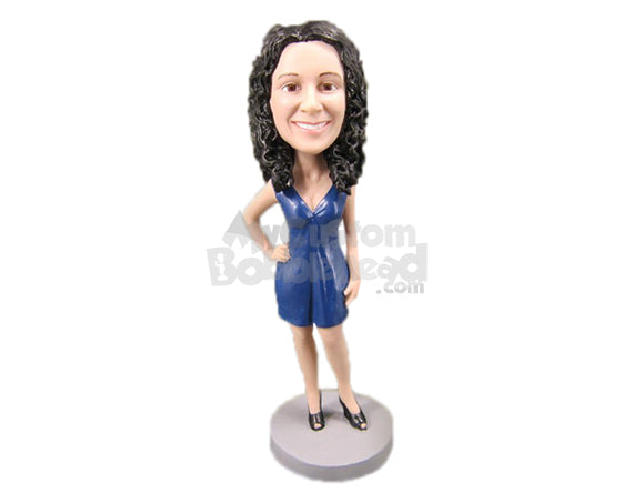 Custom Bobblehead Bridesmaid In Sexy Outfit Ready With A Pose - Wedding & Couples Bridesmaids Personalized Bobblehead & Cake Topper