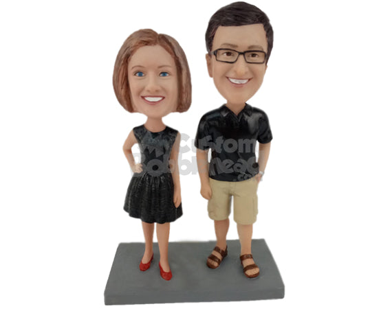 Custom Bobblehead Classy Couple Modeling Wearing Casual Attire - Wedding & Couples Couple Personalized Bobblehead & Cake Topper