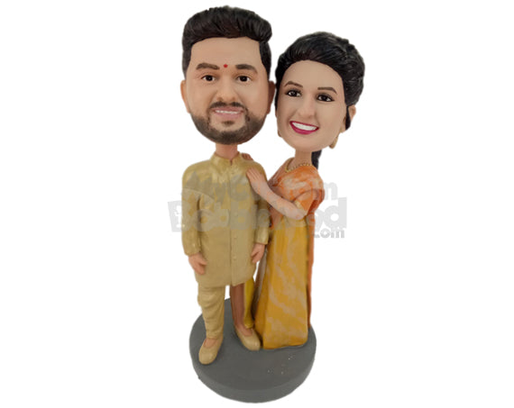 Custom Bobblehead Gorgeous Indian Couple In Classy Indian Outfit - Wedding & Couples Couple Personalized Bobblehead & Cake Topper