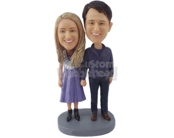Custom Bobblehead Cute Couple Wearing Casual Outfits Ready To Go The Distance Holding Each Others Hand - Wedding & Couples Bride & Groom Personalized Bobblehead & Cake Topper