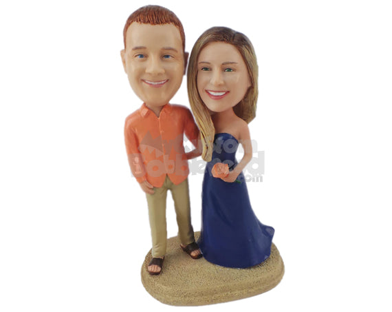 Custom Bobblehead Beach Wedding Themed In Semi Formal Attire - Wedding & Couples Couple Personalized Bobblehead & Cake Topper