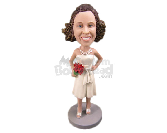 Custom Bobblehead Bride In Her Wedding Outfit With A Bouquet In Hand - Wedding & Couples Brides Personalized Bobblehead & Cake Topper