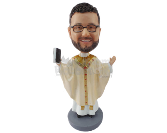 Bobblehead Religious Priest Praising The Lord - Wedding & Couples Priests & Officiants Personalized Bobblehead & Cake Topper