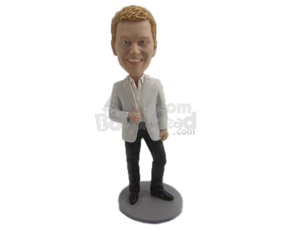 Custom Bobblehead Cool Dude Wedding Best Man In Formal Attire - Wedding & Couples Groomsman & Best Men Personalized Bobblehead & Cake Topper