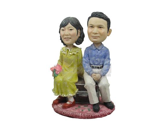 Custom Bobblehead Couple Sitting On Bench Wearing Formal Attire - Wedding & Couples Couple Personalized Bobblehead & Cake Topper