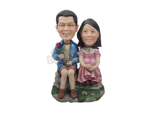 Custom Bobblehead Cute Couple In Casual Outfit Sitting On A Rock - Wedding & Couples Couple Personalized Bobblehead & Cake Topper