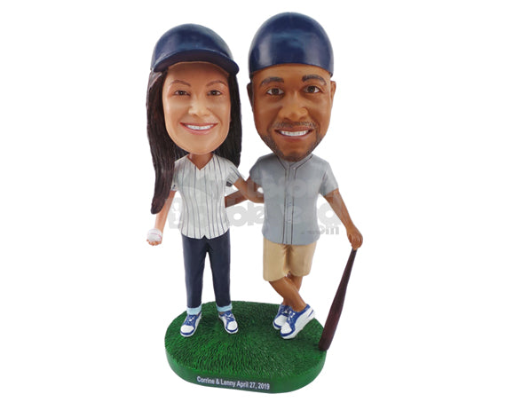 Custom Bobblehead Baseball Couple Ready To Blast Some Shots - Wedding & Couples Couple Personalized Bobblehead & Cake Topper