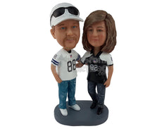 Custom Bobblehead Baseball Couple Wearing Their Favorite Players Jersey - Wedding & Couples Couple Personalized Bobblehead & Cake Topper