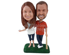 Custom Bobblehead Baseball Fan Couple With The Man Leaning Onto The Bat And Woman Holding The Ball - Wedding & Couples Couple Personalized Bobblehead & Cake Topper