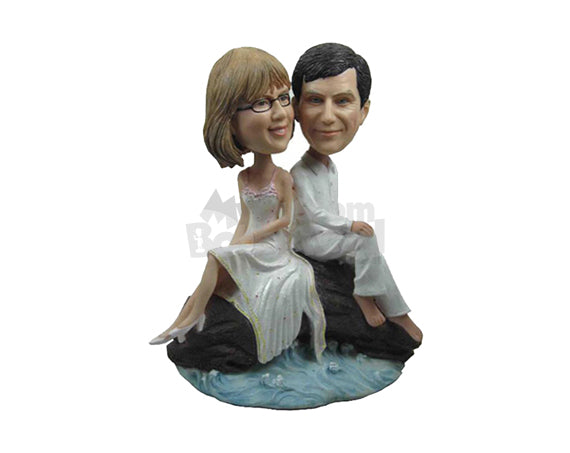 Custom Bobblehead Couple In Formal Attire Ready For A Photo Shoot Session - Wedding & Couples Couple Personalized Bobblehead & Cake Topper