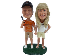 Custom Bobblehead Baseball Fan Couple With The Man Holding Bat On One Hand And His Woman On Other - Wedding & Couples Couple Personalized Bobblehead & Cake Topper