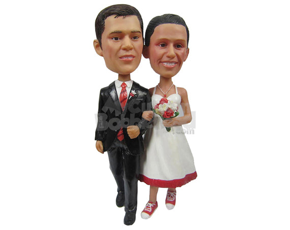 Custom Bobblehead Gorgeous Wedding Couple Walking In Their Classic Wedding Dress - Wedding & Couples Bride & Groom Personalized Bobblehead & Cake Topper