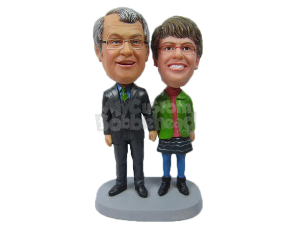 Custom Bobblehead Elder Couple Walking Hand With Male Wearing Formal And Female Wearing Casul Outfit - Wedding & Couples Couple Personalized Bobblehead & Cake Topper