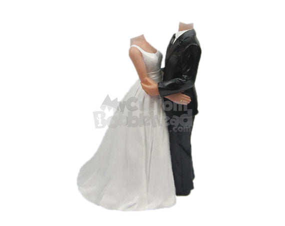 Custom Bobblehead Embracing Wedding Couple In Formal Attire Holding Each Other Tight - Wedding & Couples Bride & Groom Personalized Bobblehead & Cake Topper