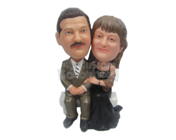 Custom Bobblehead Couple In Classic Formal Attire Seating On A Bench Holding Hands - Wedding & Couples Couple Personalized Bobblehead & Cake Topper
