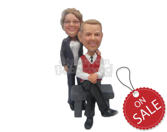 Custom Bobblehead Lovely Couple In Formal Attire With The Male Sitiing And The Woman Standing Behind Him - Wedding & Couples Couple Personalized Bobblehead & Cake Topper