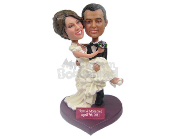 Custom Bobblehead Groom Carrying Bride Wearing Fashionable Wedding Attire - Wedding & Couples Bride & Groom Personalized Bobblehead & Cake Topper