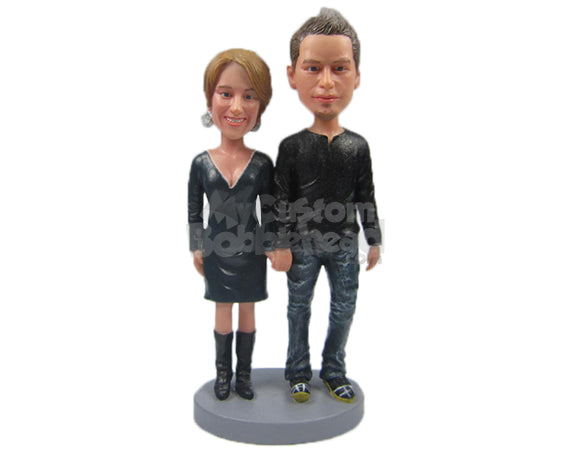 Custom Bobblehead Cool Couple In Stylish Casual Outfit - Wedding & Couples Couple Personalized Bobblehead & Cake Topper