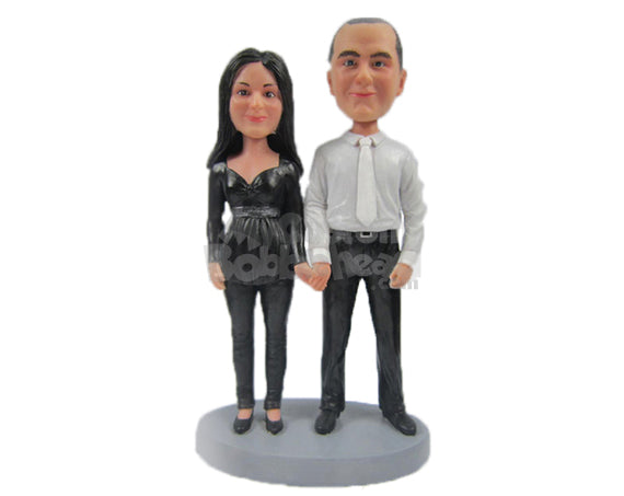 Custom Bobblehead Couple Holding Hands Wearing Classy Formal Attire - Wedding & Couples Couple Personalized Bobblehead & Cake Topper