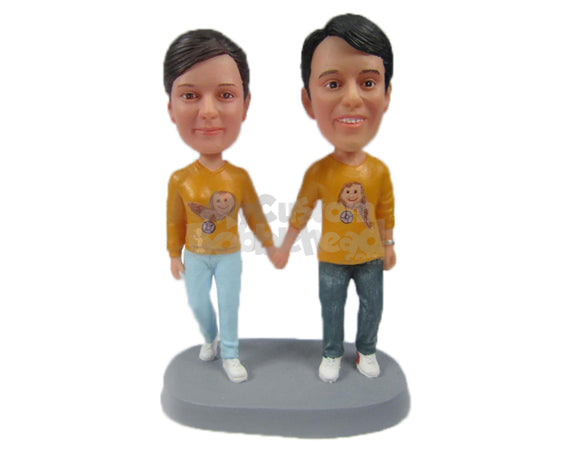 Custom Bobblehead Couple In Casual Matching Outfits - Wedding & Couples Couple Personalized Bobblehead & Cake Topper