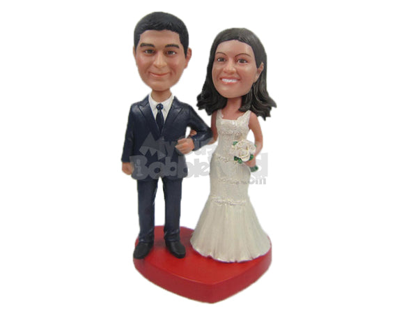 Custom Bobblehead Classic Wedding Couple In Fancy Wedding Attire - Wedding & Couples Bride & Groom Personalized Bobblehead & Cake Topper