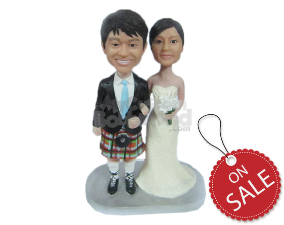 Custom Bobblehead Lovely Wedding Couple With Groom Wearing Fancy Shorts - Wedding & Couples Bride & Groom Personalized Bobblehead & Cake Topper