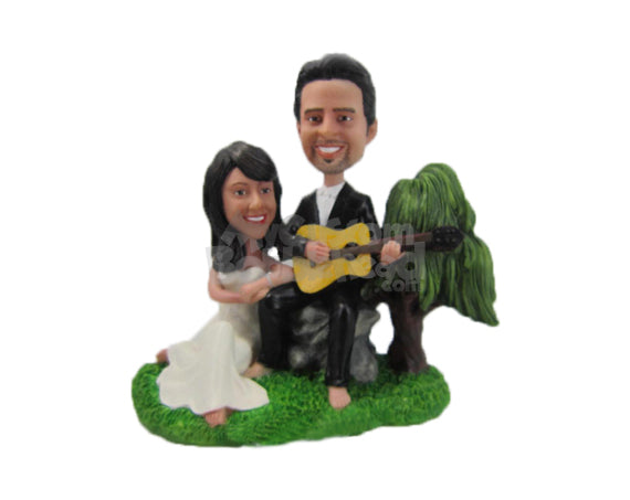 Custom Bobblehead Musical Wedding Couple Wearing Formal Attire - Wedding & Couples Bride & Groom Personalized Bobblehead & Cake Topper