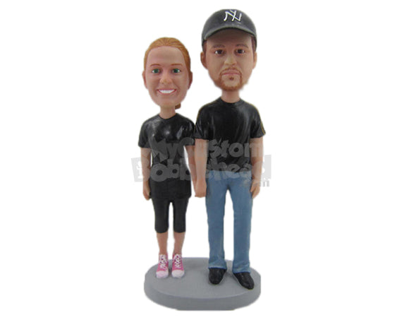 Custom Bobblehead Couple Standing Together In Casual Outfits - Wedding & Couples Couple Personalized Bobblehead & Cake Topper
