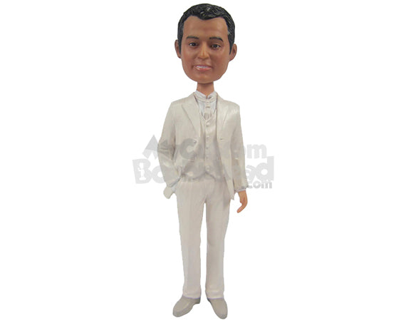 Custom Bobblehead Classy Groomsman With One Hand Inside The Pocket - Wedding & Couples Groomsman & Best Men Personalized Bobblehead & Cake Topper