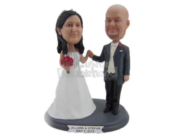 Custom Bobblehead Bride & Groom In Wedding Attire Promising To Be Together Forever - Wedding & Couples Bride & Groom Personalized Bobblehead & Cake Topper