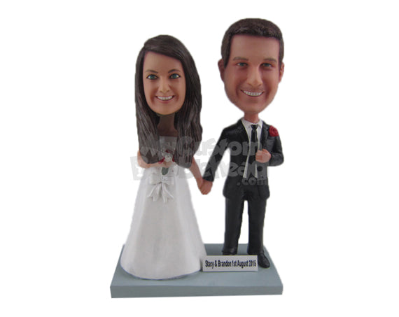 Custom Bobblehead Just Married Wedding Couple In Wedding Attire Holding Hands - Wedding & Couples Bride & Groom Personalized Bobblehead & Cake Topper
