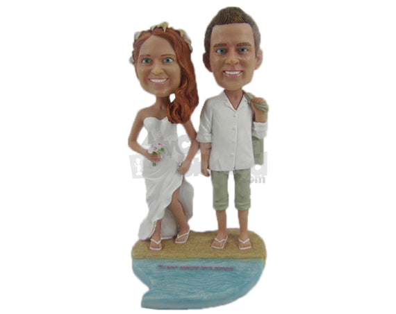Custom Bobblehead Destination Wedding Couple On A Beach Front - Wedding & Couples Bride & Groom Personalized Bobblehead & Cake Topper
