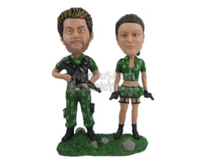 Custom Bobblehead Jungle Army Couple In Their Uniform With Guns In Hand - Wedding & Couples Couple Personalized Bobblehead & Cake Topper