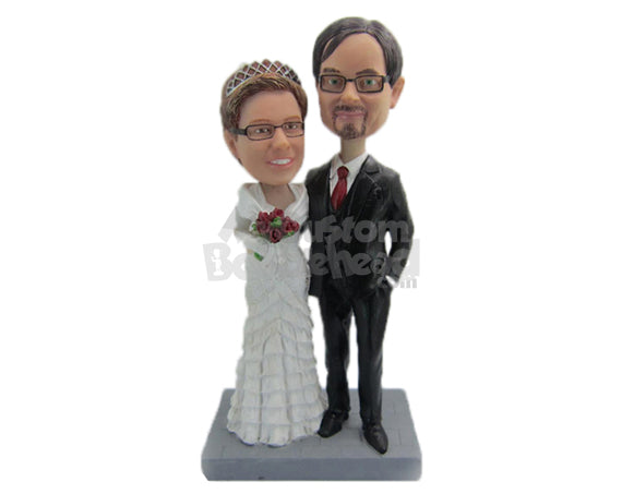 Custom Bobblehead Couple In Classic Wedding Attire Ready For A Photo Shoot Session - Wedding & Couples Bride & Groom Personalized Bobblehead & Cake Topper