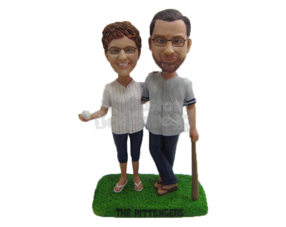 Custom Bobblehead Baseball Loving Couple In Baseball Outfits With Bat And Ball In Hand - Wedding & Couples Couple Personalized Bobblehead & Cake Topper