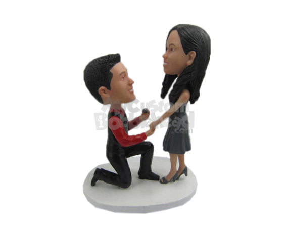 Custom Bobblehead Cool Dude One Knee On Ground Proposing A Sexy Girl - Wedding & Couples Couple Personalized Bobblehead & Cake Topper