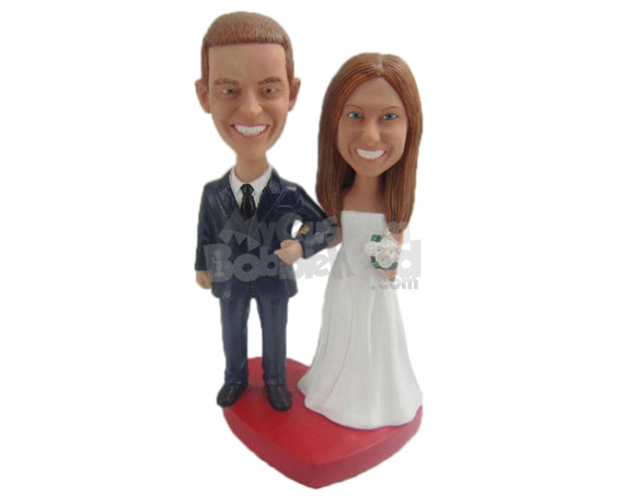 Custom Bobblehead Gorgeous Bride & Groom In Their Wedding Attire Holding Hands - Wedding & Couples Bride & Groom Personalized Bobblehead & Cake Topper